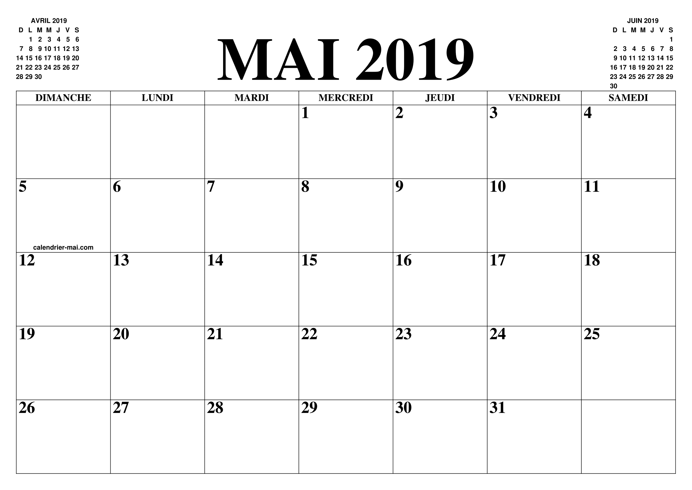 Calendrier Mai2019.Calendrier Mai 2019 2020 Le Calendrier Du Mois De Mai