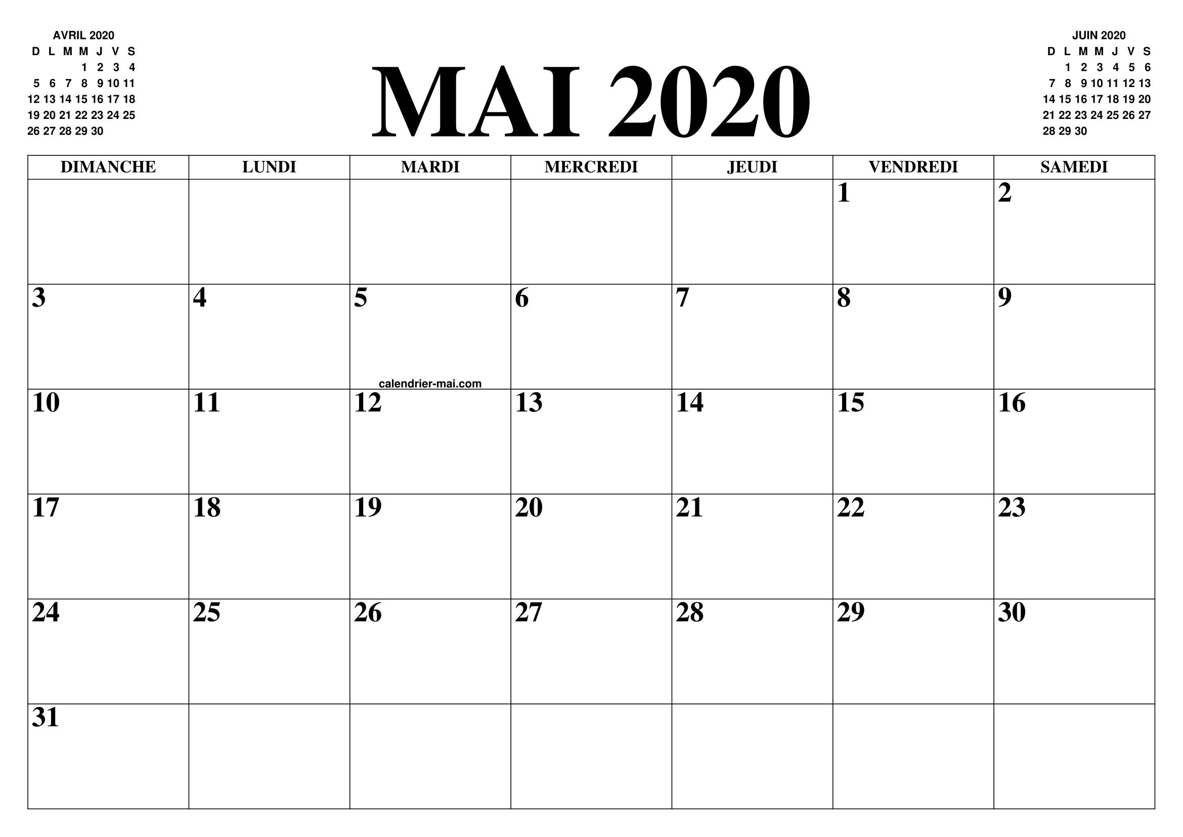 calendrier mai 2020 le calendrier du mois de mai gratuit a imprimer agenda. Black Bedroom Furniture Sets. Home Design Ideas