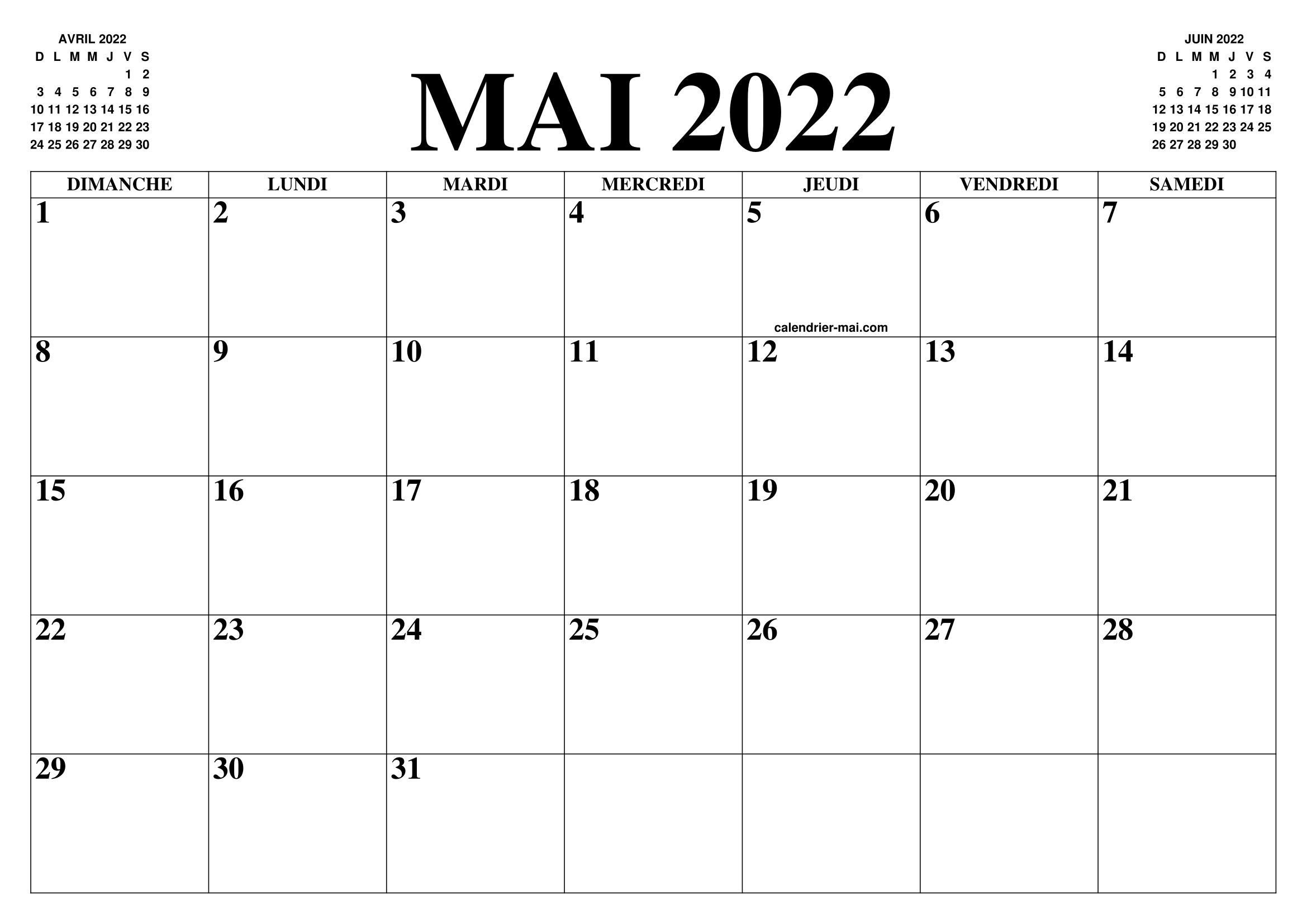 Mai Calendrier 2022 CALENDRIER MAI 2022 : LE CALENDRIER DU MOIS DE MAI GRATUIT A
